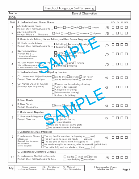 Preschool Progress Monitoring Recording Sheet Sample