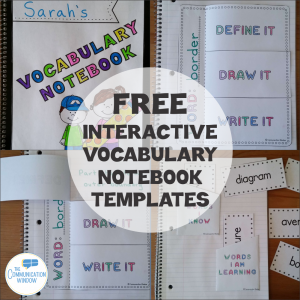 Free Vocabulary Graphic Organizer and Interactive Notebook Templates